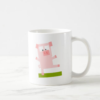 Square Shaped Cartoon Pig Standing on One Hoof Mug