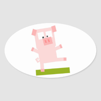 Square Shaped Cartoon Pig Standing on One Hoof Oval Sticker