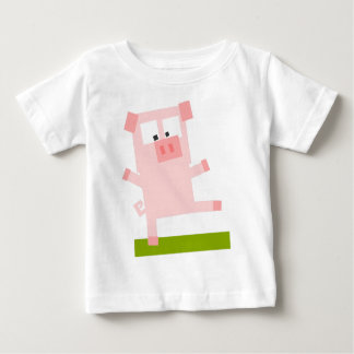 Square Shaped Cartoon Pig Standing on One Hoof T-shirt