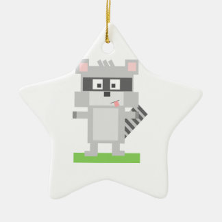 Square Shaped Cartoon Raccoon Sticking Out Tongue Ceramic Ornament