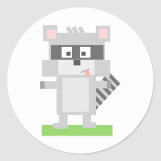 Square Shaped Cartoon Raccoon Sticking Out Tongue Classic Round Sticker