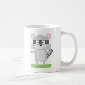 Square Shaped Cartoon Raccoon Sticking Out Tongue Mugs