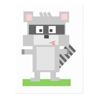 Square Shaped Cartoon Raccoon Sticking Out Tongue Postcard