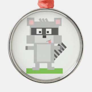Square Shaped Cartoon Raccoon Sticking Out Tongue Round Metal Christmas Ornament