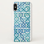 Square shaped Scottish Celtic Knots in Blue iPhone X Case