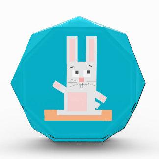 Square Shaped White and Pink Cartoon Bunny Rabbit Acrylic Award