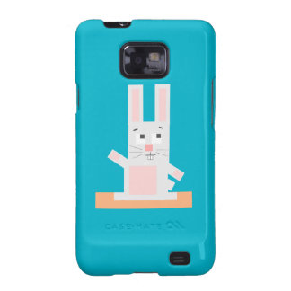 Square Shaped White and Pink Cartoon Bunny Rabbit Samsung Galaxy S2 Covers