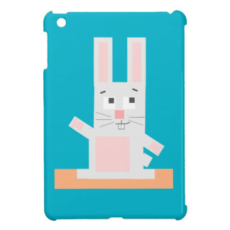 Square Shaped White and Pink Cartoon Bunny Rabbit Cover For The iPad Mini