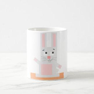 Square Shaped White and Pink Cartoon Bunny Rabbit Coffee Mug