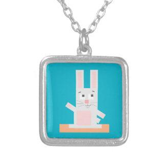 Square Shaped White and Pink Cartoon Bunny Rabbit Custom Jewelry