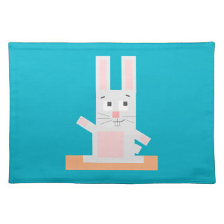Square Shaped White and Pink Cartoon Bunny Rabbit Placemat
