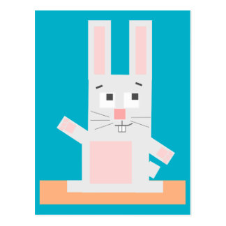 Square Shaped White and Pink Cartoon Bunny Rabbit Postcard