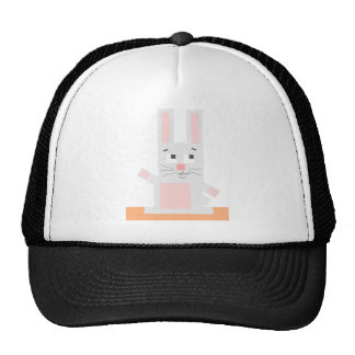 Square Shaped White and Pink Cartoon Bunny Rabbit Trucker Hat