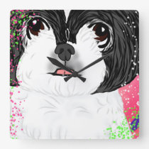 Square Shih tzu Wall Clock