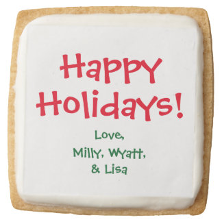 Square Shortbread Cookies with Custom Text & Name