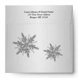 Square Silver Glitter Snowflakes & Black Envelope