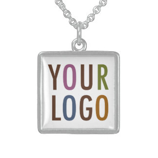 Square Silver Pendant Necklace with Custom Logo