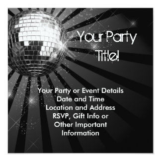 Square Silver Sparkle Disco Ball Party Card