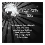 Square Silver Sparkle Disco Ball Party Personalized Announcements