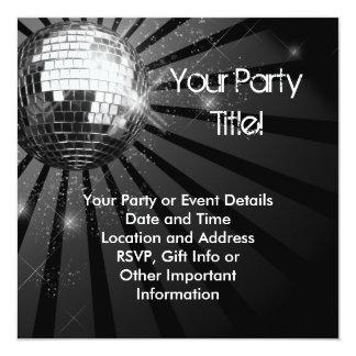 """Square Silver Sparkle Disco Ball Party 5.25"""" Square Invitation Card"""