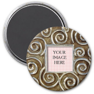 Square Silver Swirls Template 3 Inch Round Magnet