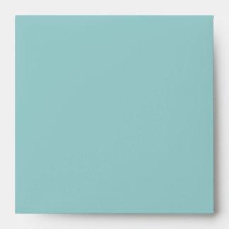 Square Sky Blue Monogram Envelopes - Return