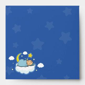 Square Sleeping Baby Boy Blue Baby Shower Envelope