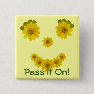 Square Smile Pinback Button