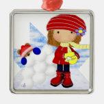 Square Snowball Girl Ornament