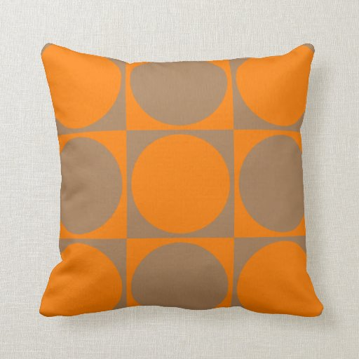 Square Sofa Cushion, Orange&Brown Squares&Circles Throw Pillow
