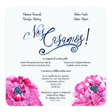Wedding Themed Square Spanish wedding invitation, Invitación Boda Card