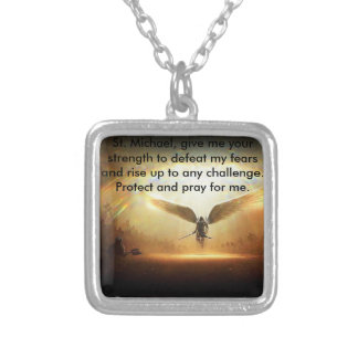 Square St Michael Silver Plated Necklace