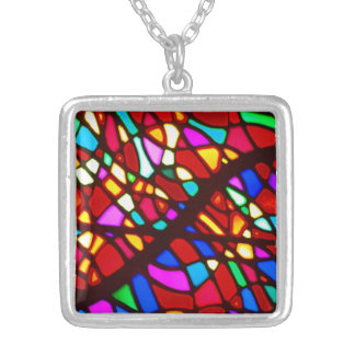 Square stain glass sterling silver plate necklace