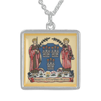 Square Sterling Silver Necklace Dublin Crest