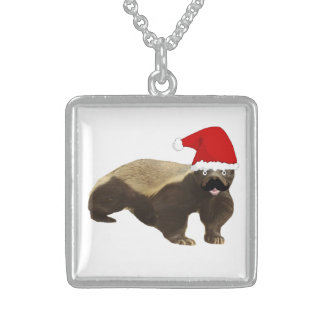 Square Sterling Silver Necklace Honey Badger
