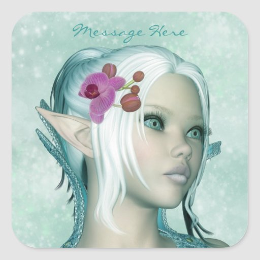 Square Sticker Fantasy Art Elven Princess