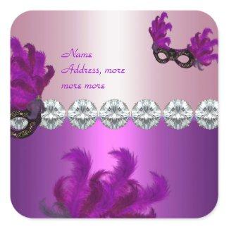 Square Sticker Purple Pink Diamond Feathers sticker