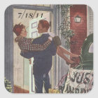 Square Sticker Retro Couple Just Married Date Stic