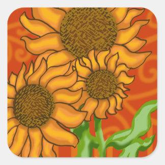 Square Sticker/Sunflower Trio Square Sticker
