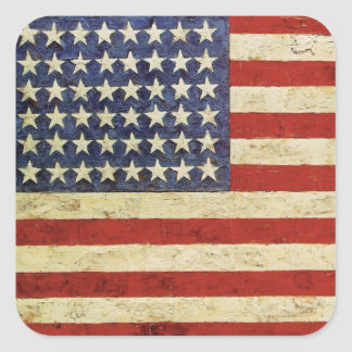Square Sticker with Vintage American Flag