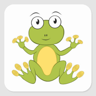 Square stickers - frog