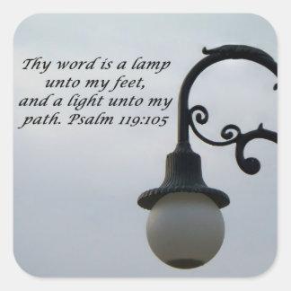 Square stickers Lamp Unto My Feet.