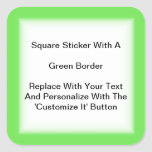 Square Stickers With A Green Border In Sheets at Zazzle