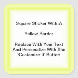 Square Stickers With A Yellow Border In Sheets at Zazzle