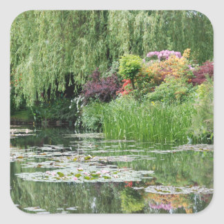 Square Stickers with Beautiful Water Lily Pond