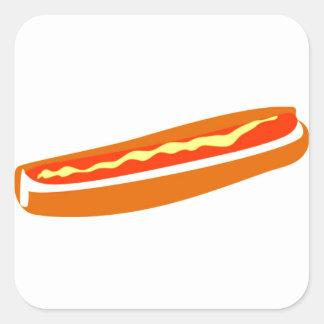 Square Stickers with Hotdog Graphic