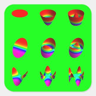 square stickers, Zernike table, green Square Sticker