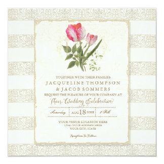 Square Striped Elegant Vintage Garden Floral Card