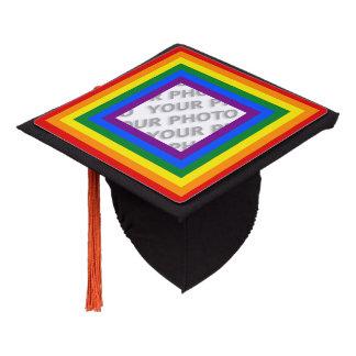 Square Stripes Frame Rainbow + your photo Graduation Cap Topper
