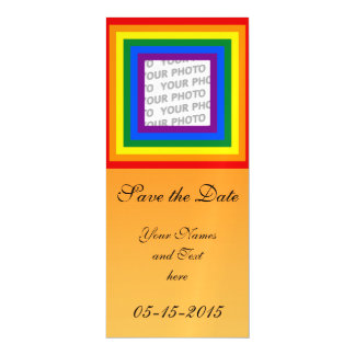 Square Stripes Frame Rainbow + your photo Magnetic Invitations
